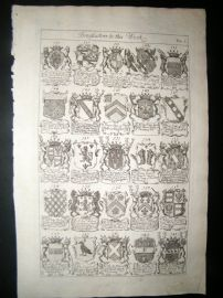 Richard Blome 1686 Folio Antique Print. Heraldry 6